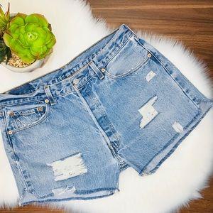 Levi's high waist distressed cutoff denim shorts
